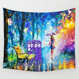 Little Tardis With The Girl Wall Tapestry