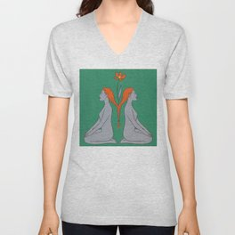 Sisters Twins Soulmates Reflection Flower Unisex V-Neck