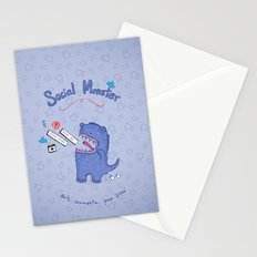 Social Monster Blue Stationery Cards