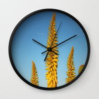 sword Wall Clocks featuring Yellow Sword by Mae2Designs