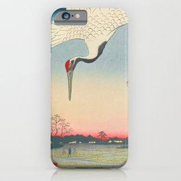 Red-crowned Crane Vintage Ukiyo-e Japanese Art iPhone Case