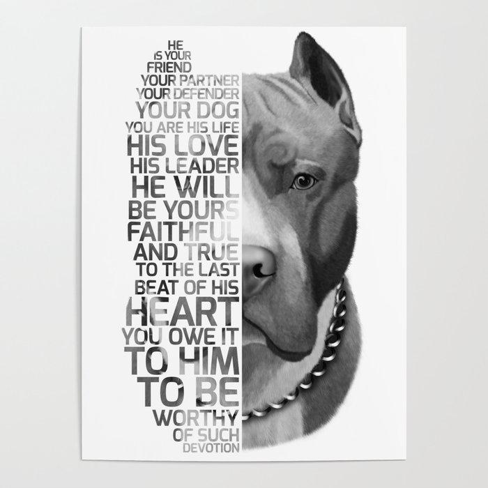 Pit Bull Print Pit Bull Quote Pit Bull Gift Text Dog Portrait