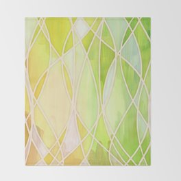 Lemon & Lime Love - abstract painting in yellow & green Throw Blanket