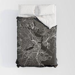 Boston Black Map Comforters