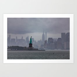 Green Lady in Harbor Art Print