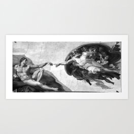 Black and White Creation of Adam Painting by Michelangelo Sistine Chapel Art Print