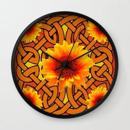 Brown & Gold Celtic Sunflowers Garden Design Pattern Wall Clock