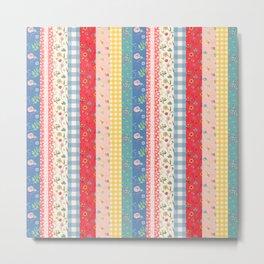 Happy patchwork stripe Metal Print