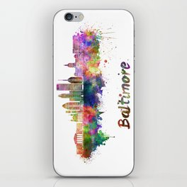 Baltimore skyline in watercolor iPhone Skin