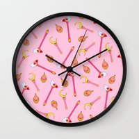 magical girl Wall Clocks featuring Magical Girl Weapons – White by mimia