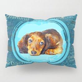 Cute Longhaired Dachshund Puppy Pillow Sham