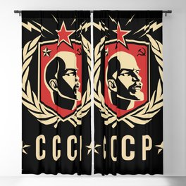 Emblem Lenin Face & CCCP Black Blackout Curtain