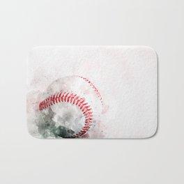 Watercolor baseball Bath Mat