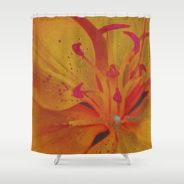 Yellow Lily Up Close Solarized Colors #3 Shower Curtain