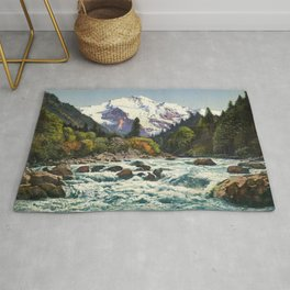 Mountains Forest Rocky River Rug