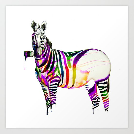 zebra painting Art Print