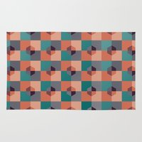 hexagon Area & Throw Rugs featuring Hexagon Pattern by Negin Khatoun