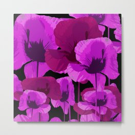 Bright Pink and Red Poppies On A Black Background Autumn Mood Metal Print