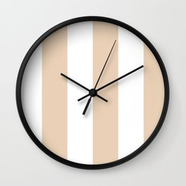 Wide Vertical Stripes - White and Pastel Brown Wall Clock