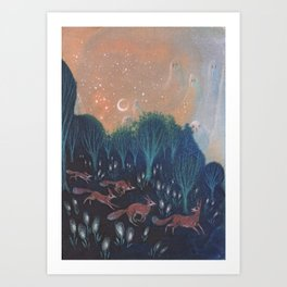 Night of the Foxes Art Print