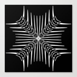 Geometric Black and White Skeleton African-Inspired Pattern Canvas Print