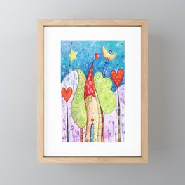 imaginary house with heart trees Framed Mini Art Print