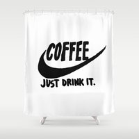 coffee Shower Curtains featuring Coffee by Hand Drawn Type