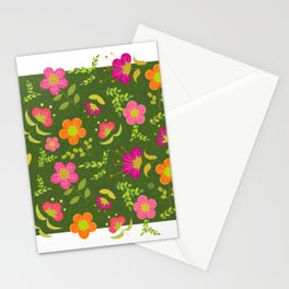 Bright Rounded Flowers on Bed of Dark Olive Leaves (pattern) Stationery Cards