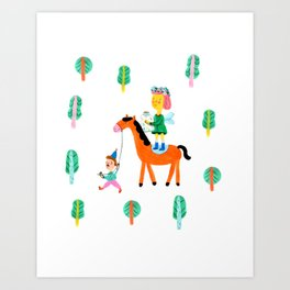 Colorful Cheerful Forest Art Print