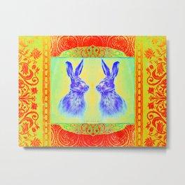Happy Hare Orange Metal Print