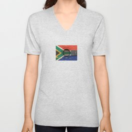 Old Vintage Acoustic Guitar with South African Flag Unisex V-Neck