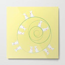 The Funny Bunnies in Lemon Yellow Metal Print