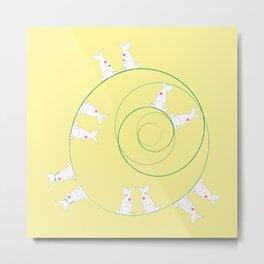 The Funny Bunnies in Lemon Yellow Metal Print