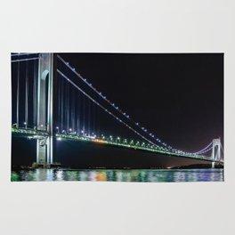 Verrazano Bridge at night Rug