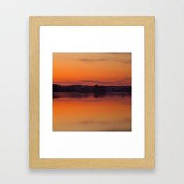 Evening Lakescape Orange Sunset Sky Reflection #decor #society6 #buyart Framed Art Print