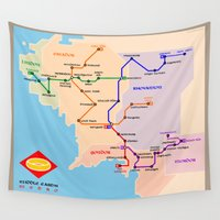 middle earth Wall Tapestries featuring Middle-Earth metro map by tuditees