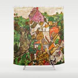 Egon Schiele - Landscape at Krumau 1916 Shower Curtain