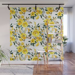 Modern hand painted yellow orange watercolor floral Wall Mural
