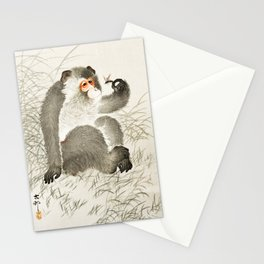 Curious Monkey and insect - Vintage Japanese Woodblock Print Art Stationery Cards