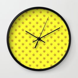 Burgundy Red on Electric Yellow Snowflakes Wall Clock
