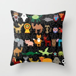 Set of funny cartoon animals character on  black seamless background. zoo. Throw Pillow