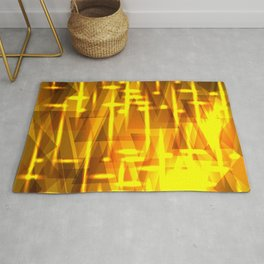 Luxurious golden triangles and metal stripes create abstraction and glow. Rug
