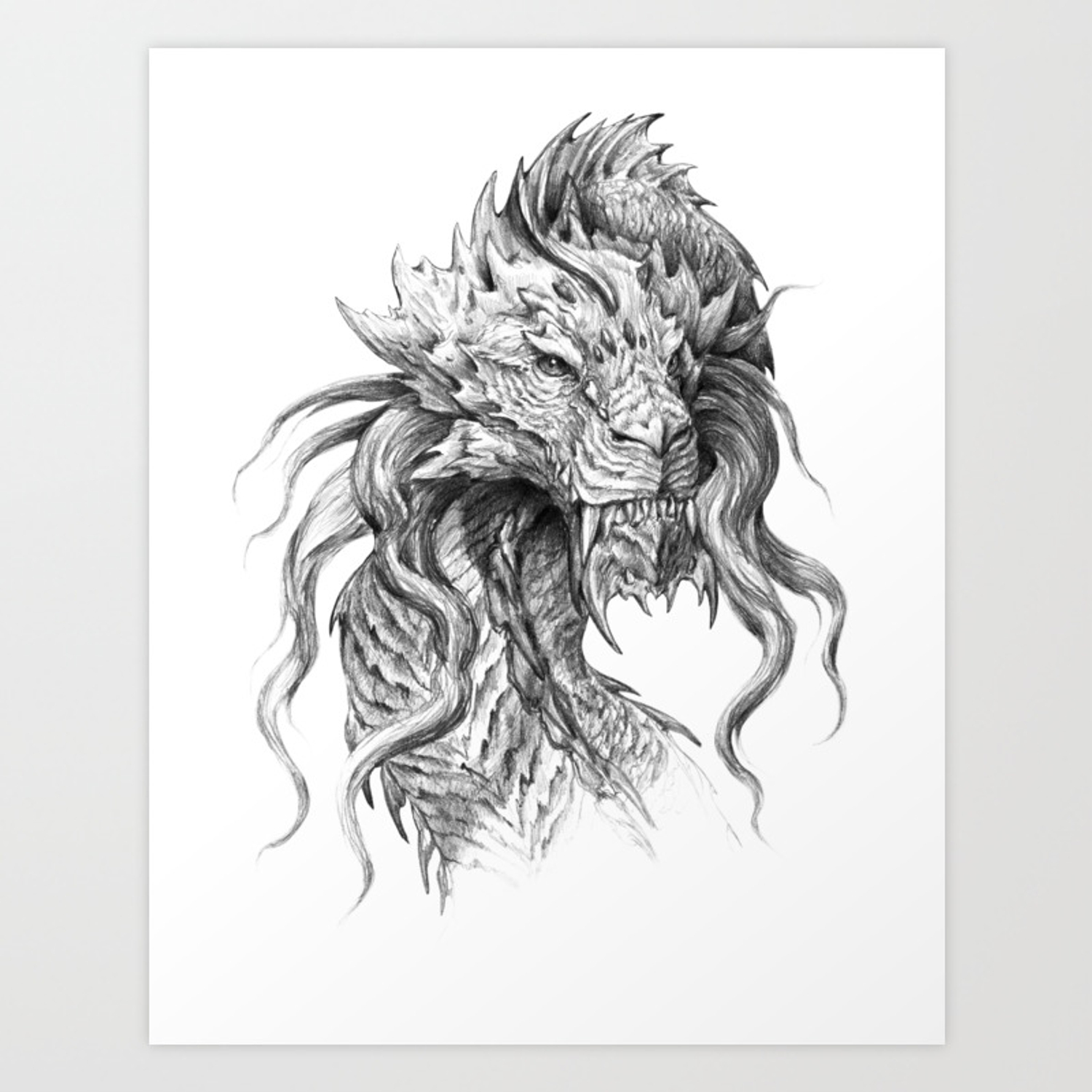 Dark side japanese dragon portrait graphite pencil art art print