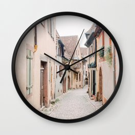 Historic French street with pastel houses | travel photography in France Europe | art photo print  Wall Clock
