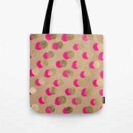 Modern Christmas watercolor neon pink gold foil polka dots on Kraft Tote Bag