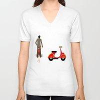 vespa V-neck T-shirts featuring VESPA by Joe Pansa