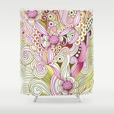 Flower fire   yellow, purple, green and ocre Shower Curtain