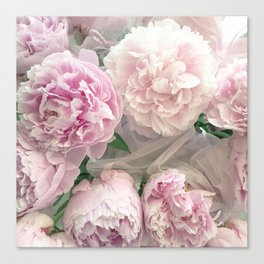 Shabby Chic Pastel Pink Peonies Wall Art - Peonies Home Decor Canvas Print