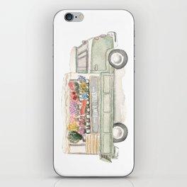 Flower Truck Watercolor Print Mint iPhone Skin