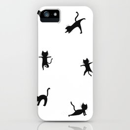 Black cats doing yoga iPhone Case